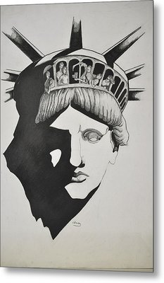 Liberty Head With People Metal Print by Glenn Calloway