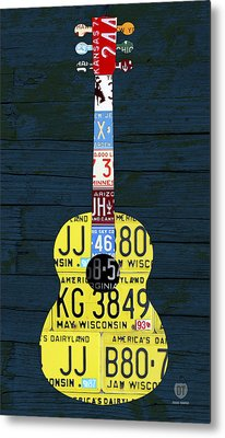 License Plate Guitar Edition 2 Vintage Recycled Metal Art On Wood Metal Print by Design Turnpike