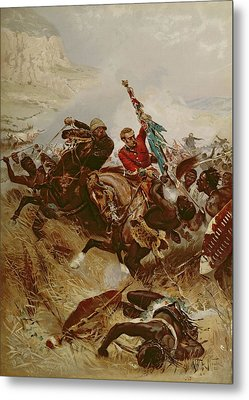 Lieutenants Nelville And Coghill Saving Metal Print by Alfred A.B. de Neauville