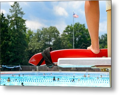 Lifeguard Watches Swimmers Metal Print by Amy Cicconi