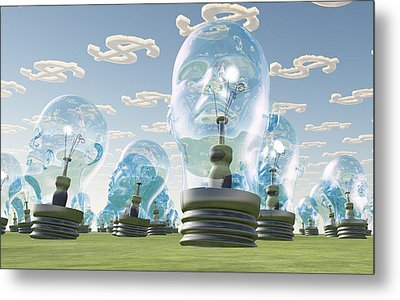 Light Bulb Heads And Dollar Symbol Clouds Metal Print