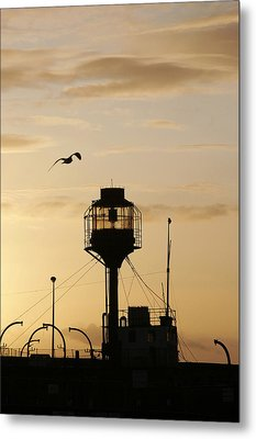 Light Ship Silhouette At Sunset Metal Print
