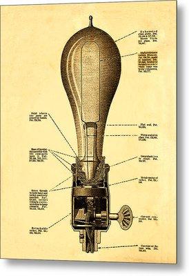 Lightbulb Patent Metal Print by Bill Cannon