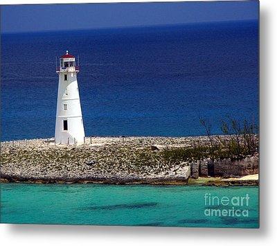 Lighthouse Along Coast Of Paradise Island Bahamas Metal Print by Amy Cicconi