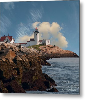 Lighthouse At Cape Ann's Harbor Metal Print