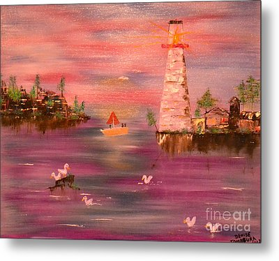 Metal Print featuring the painting Lighthouse Serenade by Denise Tomasura