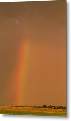 Metal Print featuring the photograph Lightning And Rainbow by Rob Graham