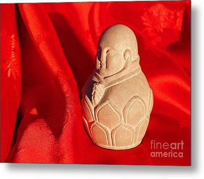 Limestone Buddha On Red Silk Metal Print by Anna Lisa Yoder