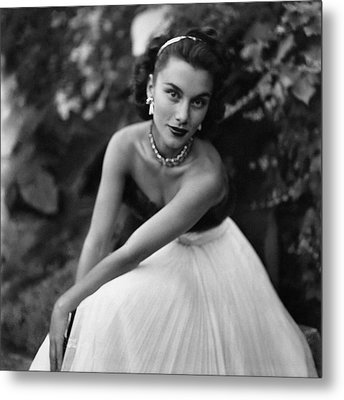 Linda Christian Wearing A Ball Gown Metal Print