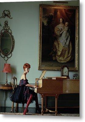 Linda Evangelista At A Piano Metal Print