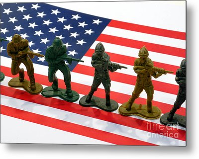 Line Of Toy Soldiers On American Flag Crisp Depth Of Field Metal Print by Amy Cicconi