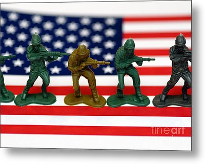 Line Of Toy Soldiers On American Flag Shallow Depth Of Field Metal Print by Amy Cicconi