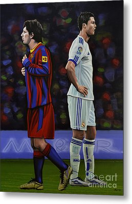 Lionel Messi And Cristiano Ronaldo Metal Print by Paul Meijering
