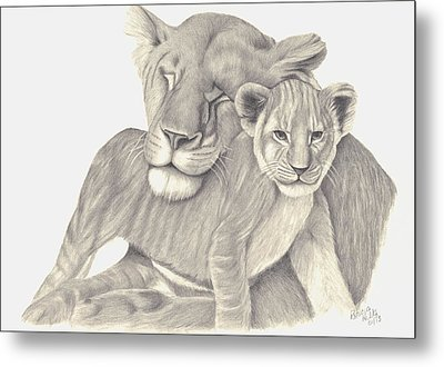 Metal Print featuring the drawing Lioness And Cub by Patricia Hiltz