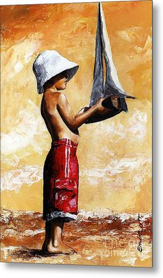 Little Boy In The Beach Metal Print by Emerico Imre Toth