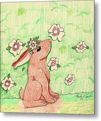 Little Bunny Big Dreams Metal Print by Wendy Coulson