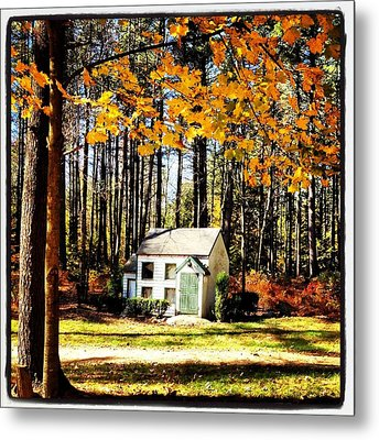 Little Cabin In The Woods Metal Print by Amanda Enos