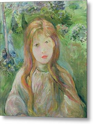 Little Girl At Mesnil, 1892 Metal Print by Berthe Morisot