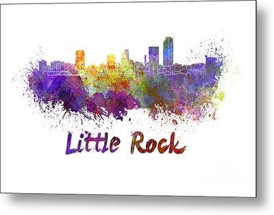 Little Rock Skyline In Watercolor Metal Print by Pablo Romero