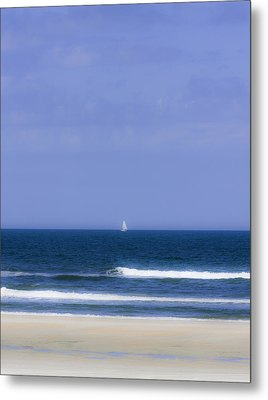 Little Sailboat On Calm Sea Metal Print