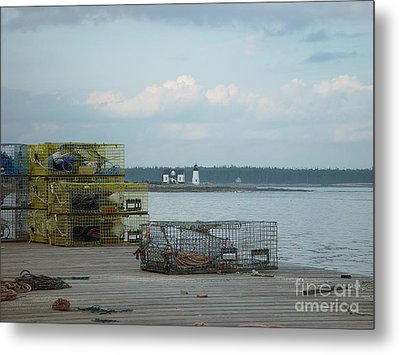 Metal Print featuring the photograph Lobster Traps At Prospect Harbor Wharf by Christopher Mace