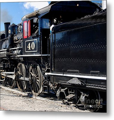 Metal Print featuring the photograph Locomotive With Tender by Gunter Nezhoda