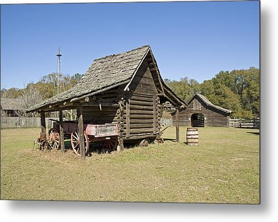 Metal Print featuring the photograph Log Cabin And Barn by Charles Beeler