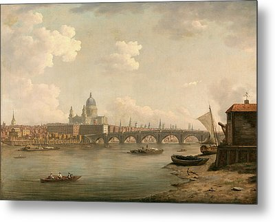 London, St. Pauls And Blackfriars Bridge Signed Metal Print