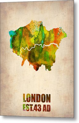 London Watercolor Map 1 Metal Print by Naxart Studio