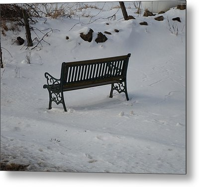 Lone Bench Metal Print by Jenna Mengersen