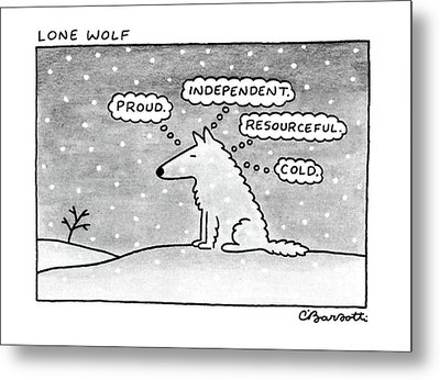 Lone Wolf: Metal Print by Charles Barsotti
