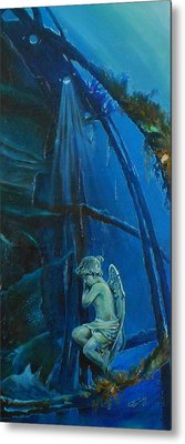 Lonely Angel Of The Deep Metal Print by Ottilia Zakany