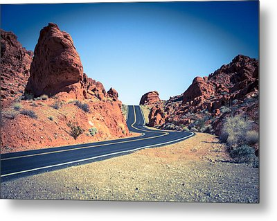 Lonely Southwestern Road Metal Print by Laura Palmer