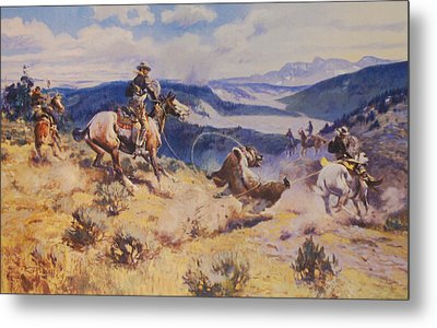 Loops And Swift Horses Are Surer Then Lead Metal Print by Charles Russell
