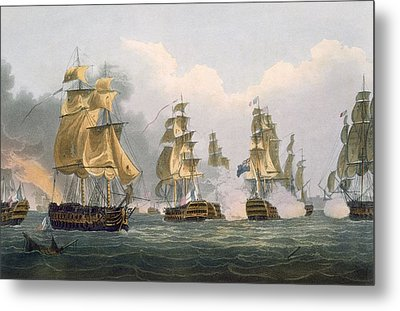 Lord Bridports Action Off Port Lorient Metal Print by Thomas Whitcombe