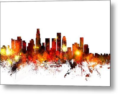 Los Angeles California Skyline Metal Print by Michael Tompsett