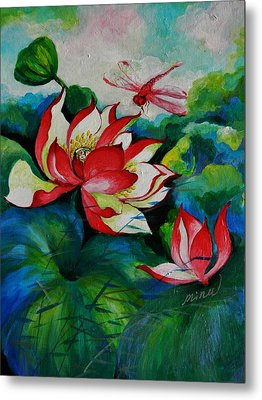 Lotus Dragon Fly A Metal Print by Min Wang