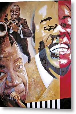 Metal Print featuring the painting Louis Armstrong by Dmitry Spiros