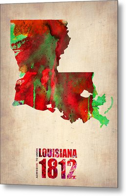 Louisiana Watercolor Map Metal Print by Naxart Studio