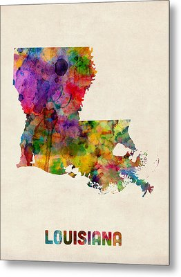 Louisiana Watercolor Map Metal Print by Michael Tompsett