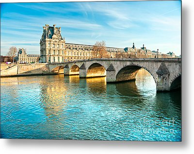 Louvre Museum And Pont Royal - Paris  Metal Print by Luciano Mortula