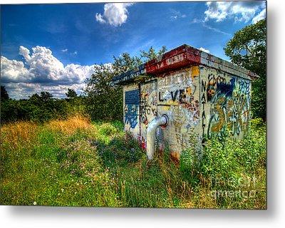 Love Graffiti Covered Building In Field Metal Print