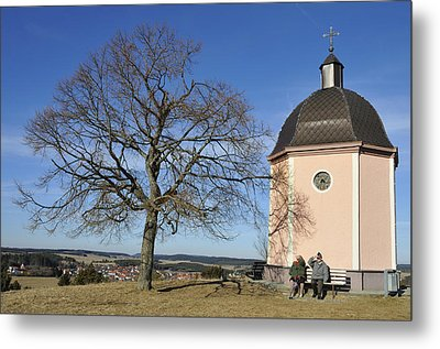 Lovely Little Chapel And A Tree Metal Print by Matthias Hauser