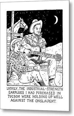Luckily, The Industrial-strength Earplugs Metal Print