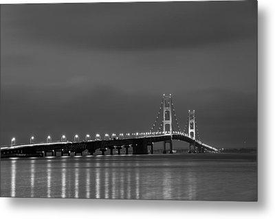 Mackinac Bridge Black And White Metal Print by Sebastian Musial