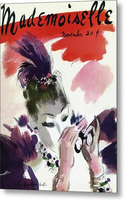 Mademoiselle Cover Featuring A Woman Looking Metal Print by Helen Jameson Hall
