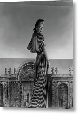 Mademoiselle Guillermo De Blanck In A Satin Dress Metal Print