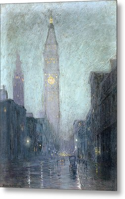 Madison Avenue At Twilight Metal Print by Lowell Birge Harrison