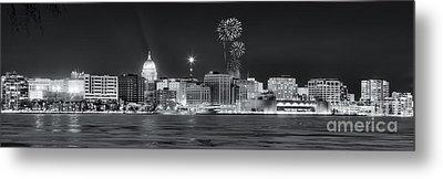 Madison - Wisconsin -  New Years Eve Panorama Black And White Metal Print