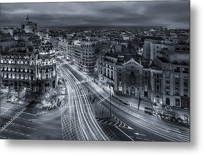 Madrid City Lights Metal Print